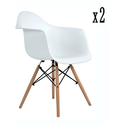 2 x Esszimmerstühle mit Armlehne, Ajie Retro Designerstuhl mit Lehne & 4 Holz Beinen Design Essstuhl - 51x62x82cm ,weiß