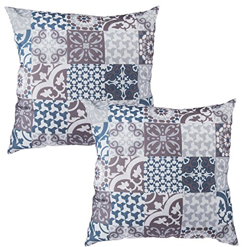 Bada Bing 2er Set Kissen Muster blau grau braun Retro Barock Trend 0275