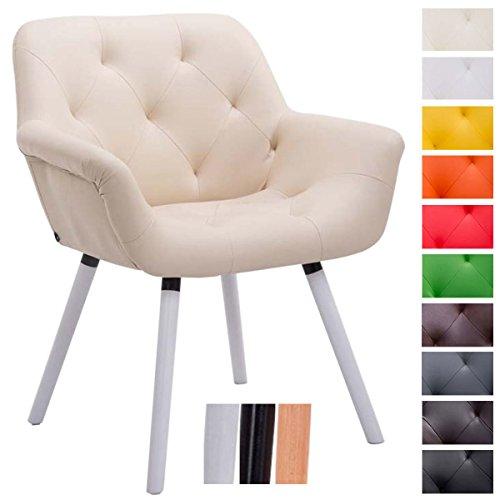CLP Besucher-Stuhl CASSIDY, Kunstleder-Bezug, belastbar bis 150 kg, Retro-Stuhl mit Armlehne, sesselförmiger Sitz, gepolstert, Sitzhöhe 45 cm Creme, Holzgestell Farbe weiß