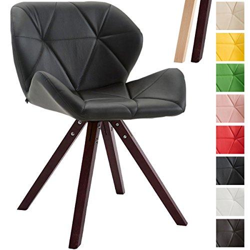 CLP Design Retro-Stuhl TYLER, Bein-Form square, Kunstleder-Sitz gepolstert, Buchenholz-Gestell, Schwarz, Gestellfarbe: Cappuccino
