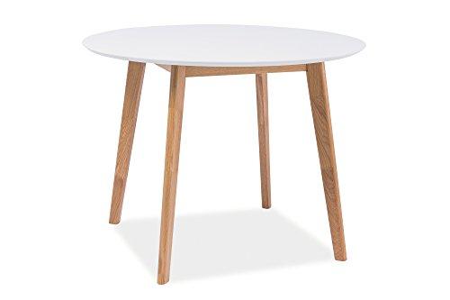 Esstisch Esszimmertisch Holztisch Echtholztisch MILO III in Weiß Eiche Natur 100 cm Durchmesser Rund Skandinavisches Design