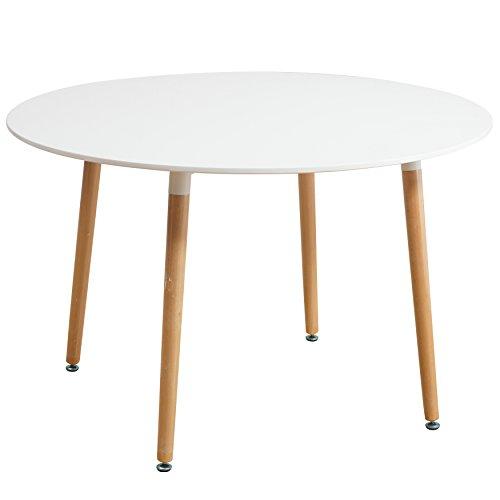Esstisch Weiß rund 120 x 72 cm Holzbeine Esszimmertisch Tisch Retro Retrolook Skandinavisch