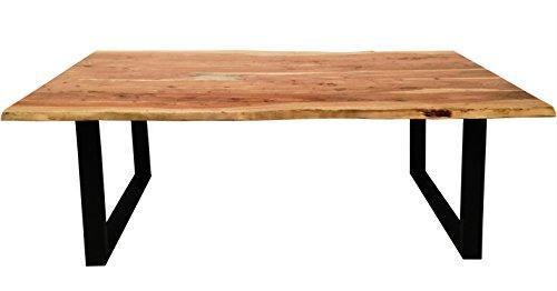 Esszimmer-Tisch mit Metall-Fuß aus Massiv-Holz 180x90 cm recht-eckig | Salito Ess-Tisch | Holz-Tisch mit Baum-Kante und Kufen-Gestell in schwarz | Rustikaler naturbelasser baumkante-tisch aus Akazie 180cm x 90cm