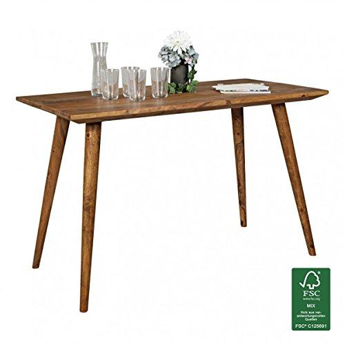 FineBuy Esszimmertisch 120 x 60 x 76 cm Sheesham rustikal Massiv-Holz | Design Landhaus Esstisch | Tisch für Esszimmer quadratisch | 4 Personen
