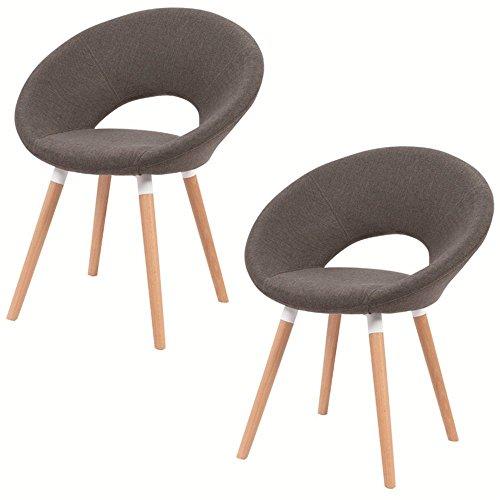 HENGMEI 2er Esszimmerstuhl Wohnzimmerstuhl Bürostuhl mit Rückenlehne und stabilen Beine (Dunkelgrau)