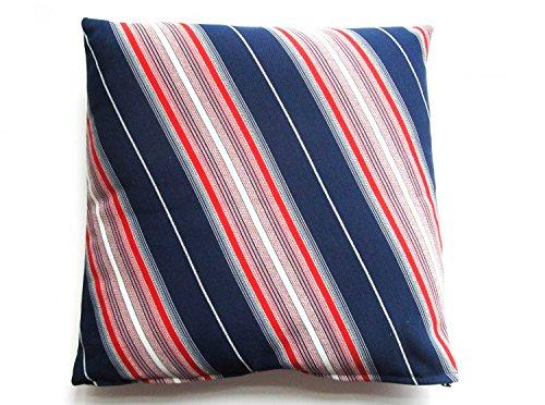 Kissen Dekokissen Miniblings 30x30cm 70er Retro blau silber rot Streifen