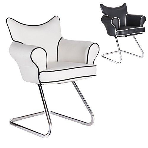 Lounge Stuhl Freischwinger Kaiser mit Armlehnen - Küchenstuhl - viele Farben - Retro Look - Konferenzstuhl - Barstuhl - Esszimmerstuhl - Kunstleder (Weiß)