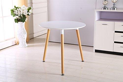 P & N Homewares® Halo runder Esstisch modernes Design Esstisch Tisch massiv, Beine aus Holz, weiß, 70 cm