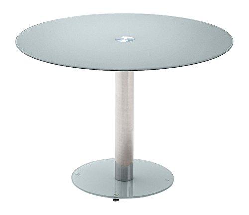 Robas Lund Tisch Glastisch Küchentisch Falko petrol rund verchromt 100x 77x 100 cm