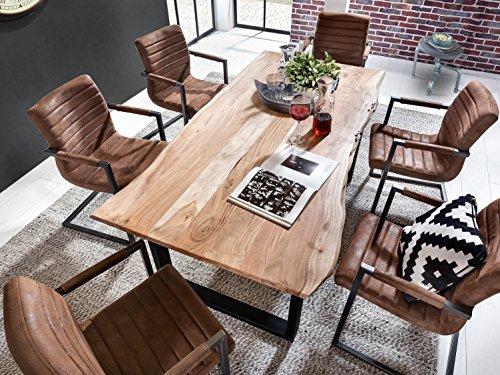 SAM® Stilvoller Esszimmertisch Ida aus Akazie-Holz, Baumkantentisch mit schwarz lackierten Beinen aus Roheisen, naturbelassene Optik mit einer Baumkanten-Tischplatte, 180 x 90 cm