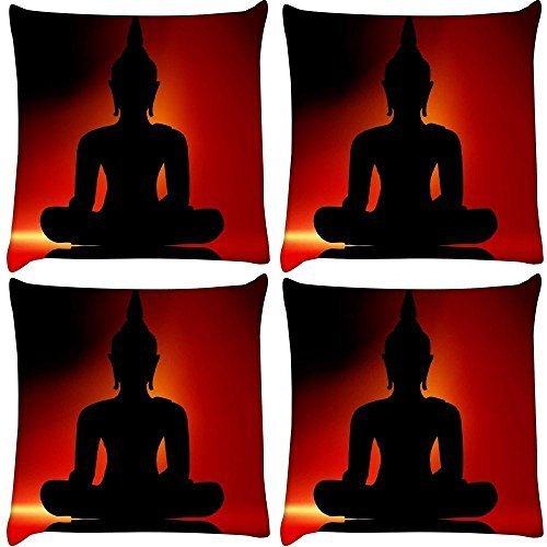 Snoogg 4Stück Buddha Digital Kissenbezug, bedruckt Kissen 40,6x 40,6cm