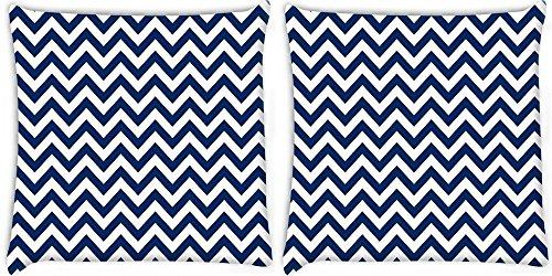 Snoogg weiß und blau Streifen 2Stück Digital Kissenbezug, bedruckt Kissen 61x 61cm