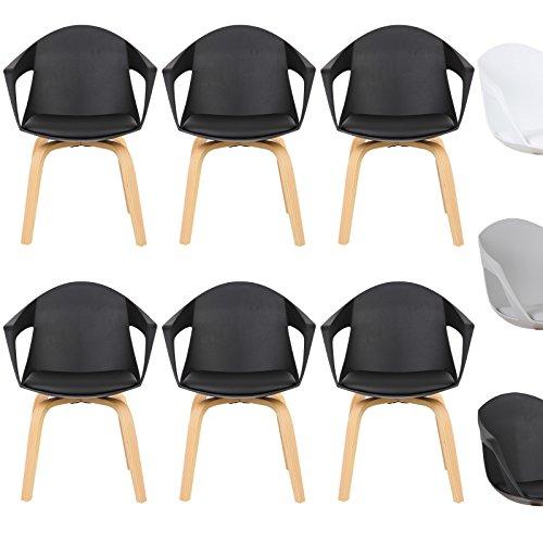 WOLTU® Esszimmerstuhl 6er Set Esszimmerstühle Küchenstuhl Wohnzimmerstuhl, mit Arm- und Rückenlehne, Sitzfläche aus Kunstleder, Beine aus Massivholz, Schwarz, BH50sz-6