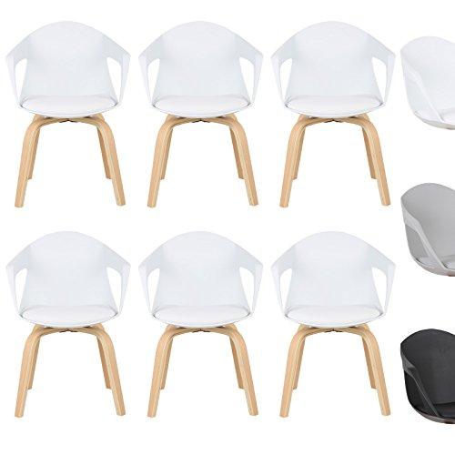 WOLTU® Esszimmerstuhl 6er Set Esszimmerstühle Küchenstuhl Wohnzimmerstuhl, mit Arm- und Rückenlehne, Sitzfläche aus Kunstleder, Beine aus Massivholz, Weiß, BH50ws-6