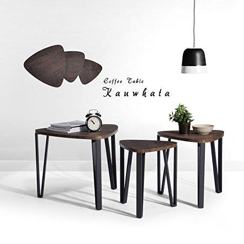 fanlife 3Set Retro Walnuss Dreieck Tisch multifunktionalen Ende Tisch Esszimmer Wohnzimmer Schreibtisch Couchtisch Beistelltisch Deep Brown