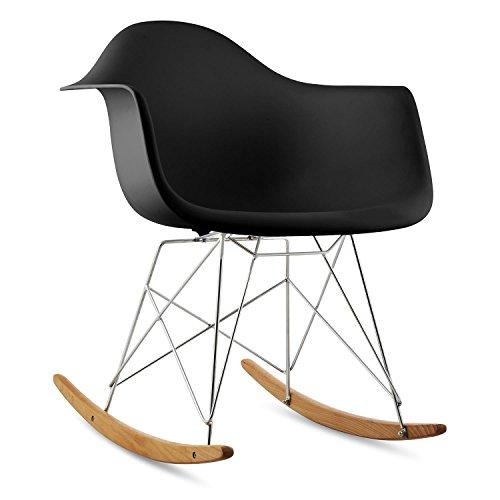 oneConcept Aurel • Schaukelstuhl • Schalenstuhl • Designstuhl • Retro-Stuhl • 70er Jahre Retro Look • Maße ca. 62 x 77,5 x 62,5 cm (BxHxT) pro Stuhl • breite Sitzfläche • hochwertige Hartplastik-Schale • Birkenholz • zeitlos • komfortabel • schwarz