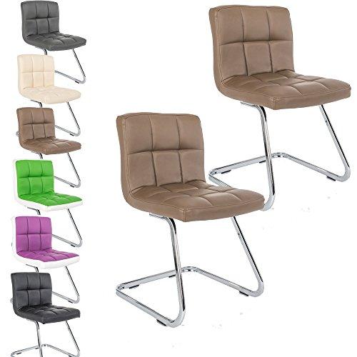 2 x Lounge Stuhl Freischwinger Kunigunde - Konferenzstuhl - Küchenstuhl - viele Farben - Retro Look - Barstuhl - Esszimmerstuhl - Polsterstuhl (Braun)