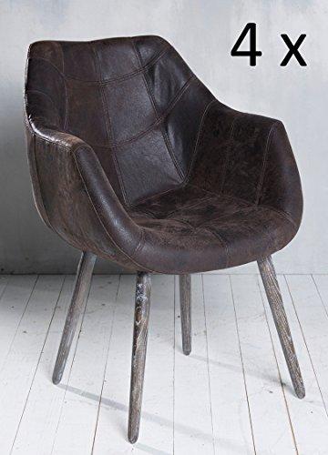 4x Armlehnenstuhl Stuhl Leder Braun mit Holzbeinen Esszimmerstuhl Echtleder Esszimmersessel Designstuhl Loungesessel Sessel Retro Look