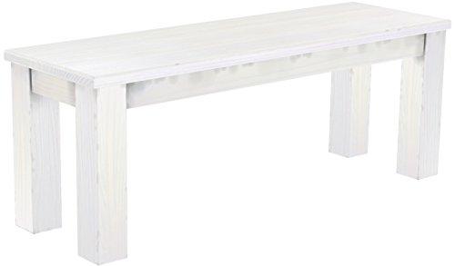 Brasilmöbel Sitzbank 'Rio Classico' 120 x 38 x 44 cm, Pinie Massivholz, Farbton Weiß