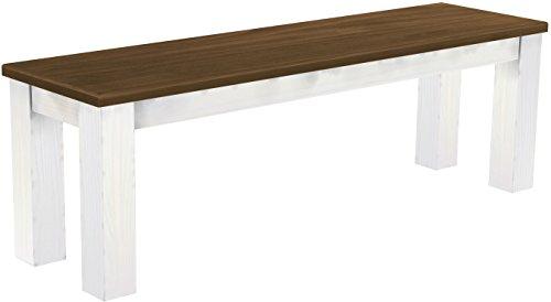 Brasilmöbel Sitzbank 'Rio Classico' 140 cm, Pinie Massivholz, Farbton Nussbaum - Weiß