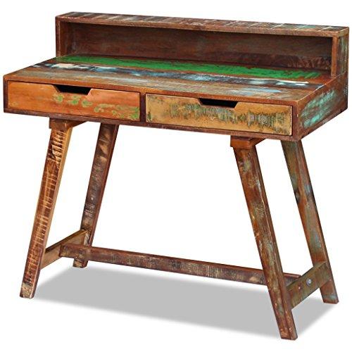 Festnight Schreibtisch Arbeitstisch Bürotisch aus Recyceltes Massivholz Retro-Stil mit 2 Schubladen für Kinderzimmer, Studio oder Büro