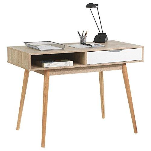 Konsolentisch LEVANTE Sekretär Schreibtisch Konsole Computertisch PC Tisch, robuste Spanplatte, Sonoma Eiche und weiß, 1 Schublade