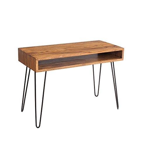 Retro Schreibtisch MANTIS 100cm Sheesham Holz stone finish Massivholz Holztisch Metallgestell Hairpin legs