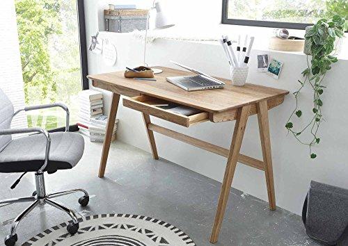 Schreibtisch in Asteiche massiv, Bürotisch mit 2 Schubladen aus Massivholz, moderner Computertisch im Retro-Design
