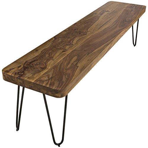 WOHNLING Esszimmer Sitzbank Massiv-Holz Sheesham 120 x 45 x 40 cm Design Holz-Bank Natur-Produkt Küchenbank Landhaus-Stil dunkel-braun Bank 3-Sitzer für innen ohne Rücken-Lehne Echt-Holz unbehandelt