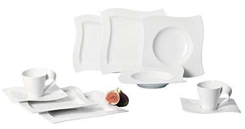 Villeroy & Boch NewWave Basic Geschirrset / edles Tafelgeschirr aus Porzellan in geschwungener Form / geeignet für bis zu 6 Personen / 1 x Set (30-teilig)