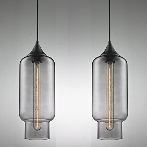 """2x Modern Industrielle Glas Pendelleuchte, MOTENT Minimal-Art Vintage Hängeleuchter 5,51"""" Breite Ceiling Light Kronleuchter aus Glas Hängelampe E27 Lampenfassung Deckenleuchte Einzel Lampe für Küchen Keller"""