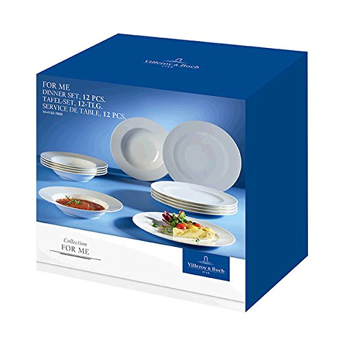 Villeroy & Boch For Me Dinner Set / Hochwertiges Geschirr aus Porzellan in weiß für jeden Anlass / 12 teilig für 6 Personen