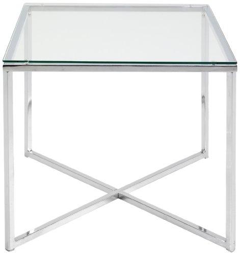 AC Design Furniture 0426862045 Beistelltischisch Gurli, klarglas 5 mm, 50 x 45 x 50 cm, Gestell Metall verchromt