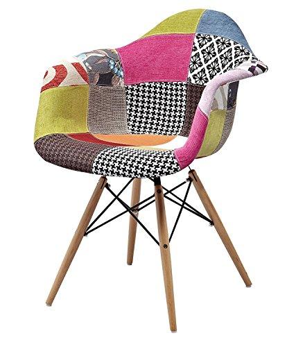 ARREDinITALY Sessel gepolstert Stil DAW, Replica von Qualität 'beschichtet Stoff Patchwork mit Farben wie abgebildet