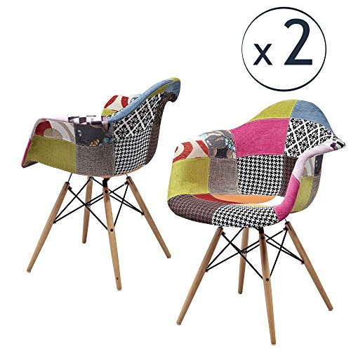 ARREDinITALY Set bestehend aus 2x Sessel Gepolsterte Stil DAW, Replica von Qualität 'beschichtet Stoff Patchwork mit Farben wie abgebildet
