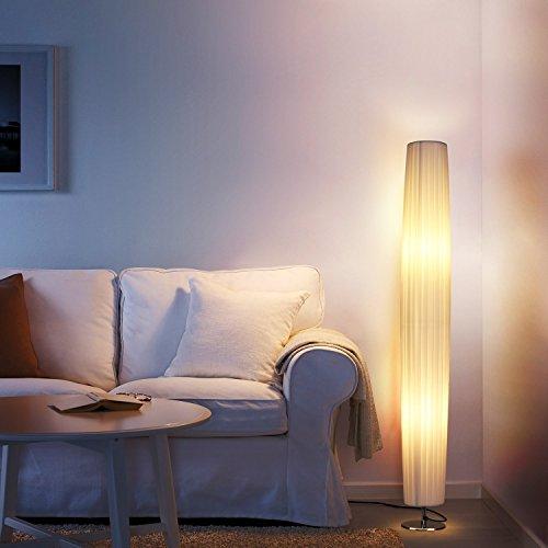Albrillo Stehlampe Moderne E27 Stehleuchte mit Tube Lampenschirm und Edelstahl Basis, 120cm Standlampe Max. 40W für Wohnzimmer, weiß