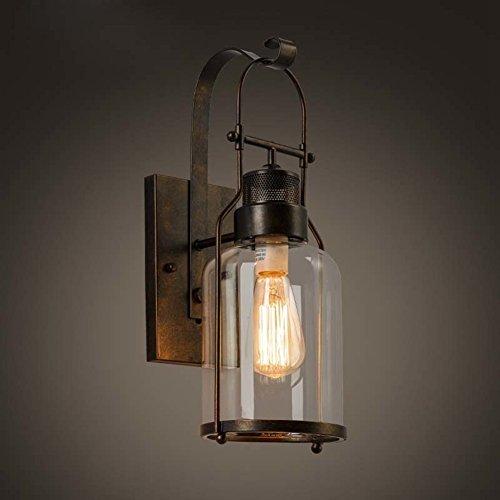 BAYCHEER Laterne Retro Vintage Pendelleuchte Hängelampe Industrie Kronleuchter Deckenlampe E27 Fassung höhenverstellbar mit Glas für Wohnzimmer Esszimmer Restaurant (18'' H Lampe)