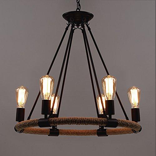 BAYCHEER Loft Vintage-Seil Deckenleuchte Antik Retro Pendelleuchte 6 Flammige 25 Inch Breite Disign Lampe Hängeleuchte