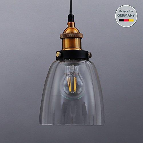 B.K.Licht Pendelleuchte 1-flammig Metall Glas Vintage Pendellampe Hängelampe IP20