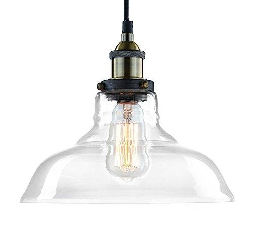 CLAXY Vintage Pendelleuchte Glasschirm Φ28cm Innen Haus Deko Hängelampe