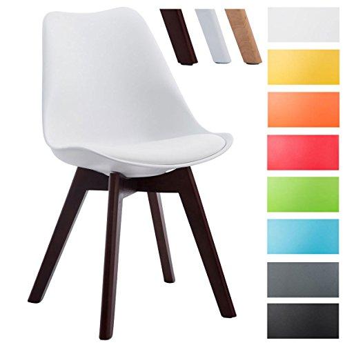 CLP Design Retro-Stuhl BORNEO V2 mit Kunstlederbezug und hochwertiger Polsterung | Lehnstuhl mit Holzgestell | Besonders pflegeleichter und strapazierfähiger Stuhl in verschiedenen Farben erhältlich Weiß, Gestellfarbe: walnuss