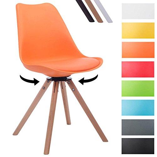 CLP Design Retro-Stuhl TROYES RUND mit Kunstlederbezug und hochwertiger Sitzfäche | 360° drehbarer Stuhl mit Schalensitz und massiven Holzbeinen | In verschiedenen Farben erhältlich Orange, Holzgestell Farbe natura, Form rund