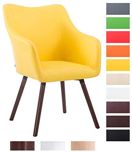 CLP Retrostuhl MCCOY V2 mit hochwertiger Polsterung und Kunstlederbezug | Esszimmerstuhl mit Armlehne | Polsterstuhl mit Holzgestell | In verschiedenen Farben erhältlich Gelb, Gestellfarbe: walnuss