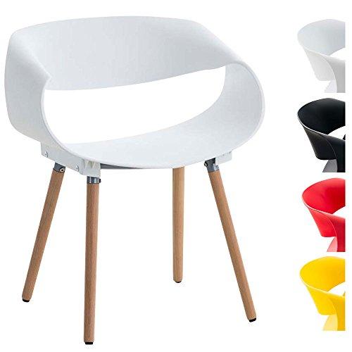 CLP Retrostuhl TUVA mit Kunststoffsitzschale und Holzgestell | Hochwertiger Design-Kunststoffstuhl mit einem Gestell aus Buchenholz | Maximale Belastbarkeit: 150 kg | In verschiedenen Farben erhältlich Weiß