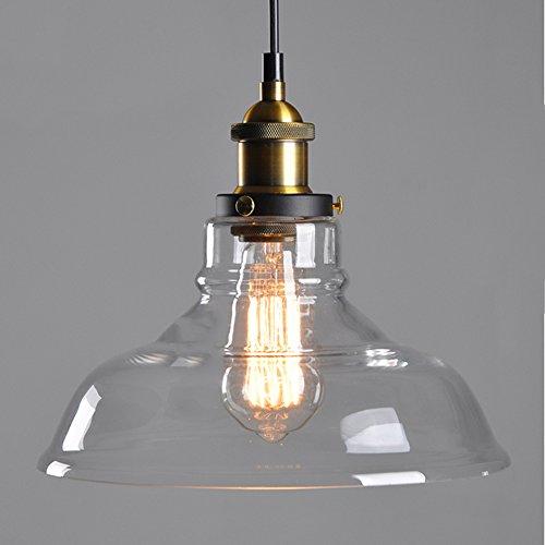 Clear Vintage Industrial Glas Deckenleuchte Pendelleuchte Edison Style Light Fixture, E27 Sockel