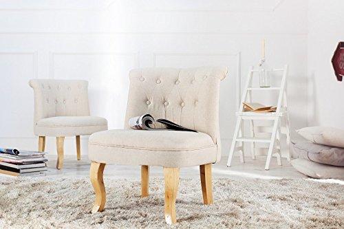 DuNord Design Barock Sessel beige Polsterstuhl DIMENSION Retro Barock Design Ohrensessel Cocktailsessel Leinen