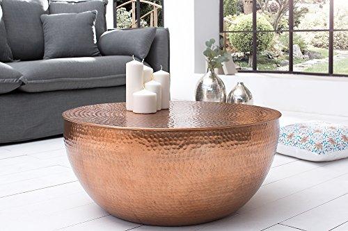 DuNord Design Couchtisch Beistelltisch SCALE 70cm kupfer rund Hammerschlag Design Alu Aluminium Tisch