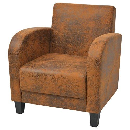 Festnight Stilvolle Sessel Retro Armsessel Relaxsessel Polstersessel 73x72x76 cm für Wohnzimmer Schlafzimmer - Braun