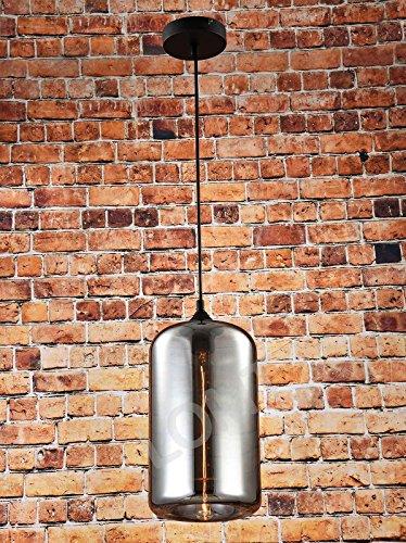 Glas Vintage Anhänger Licht Deckenleuchte schwarz Zylinder