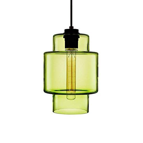 HJXDtech - Industrial Vintage Glas Pendelleuchte Einfache Loft Bar Deckenleuchte Single Color Kronleuchter - C (Grün)